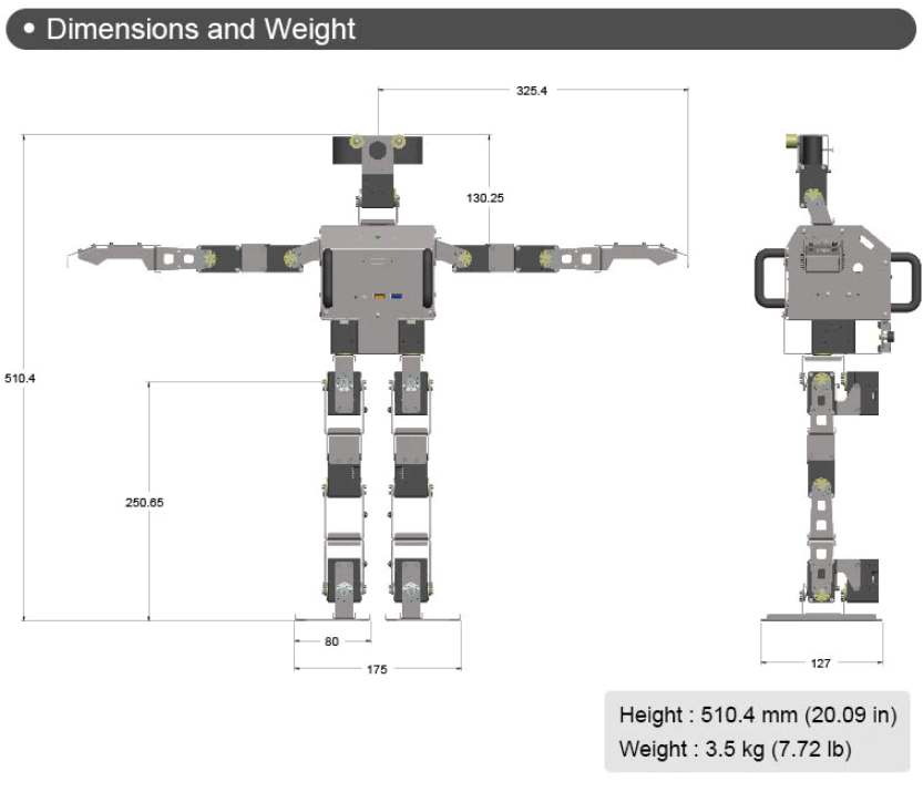 ROBOTIS OP3 Dimensions and Weight
